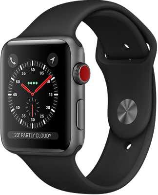 Compare retail prices of Apple Watch Series 3 38mm (GPS+Cellular) Space Grey Aluminium Case with Black Sport Band to get the best deal online