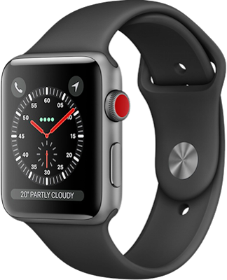 Compare prices with Phone Retailers Comaprison to buy a Apple Watch Series 3 38mm (GPS+Cellular) Space Grey Aluminium Case with Black Sport Band