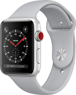 Apple Watch Series 3 42mm (GPS+Cellular) Silver Aluminium Case with White Sport Band cheapest retail price