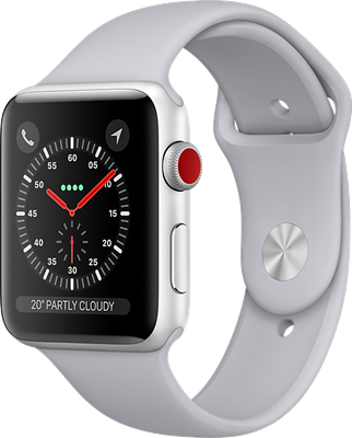 Compare prices with Phone Retailers Comaprison to buy a Apple Watch Series 3 42mm (GPS+Cellular) Silver Aluminium Case with White Sport Band