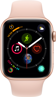 Compare prices with Phone Retailers Comaprison to buy a Apple Watch Series 4 44 mm (GPS+Cellular) Gold Aluminium Case with Pink Sand Sport Band