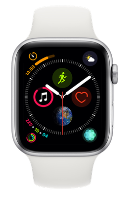 Apple Watch Series 4 44 mm (GPS+Cellular) Silver Aluminium Case with White Sport Band cheapest retail price