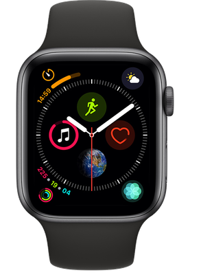Apple Watch Series 4 44 mm (GPS+Cellular) Space Grey Aluminium Case with Black Sport Band cheapest retail price
