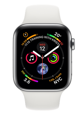 Apple Watch Series 4 44 mm (GPS+Cellular) Stainless Steel Case with White Sport Band cheapest retail price