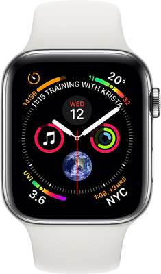 Compare prices with Phone Retailers Comaprison to buy a Apple Watch Series 4 44 mm (GPS+Cellular) Stainless Steel Case with White Sport Band