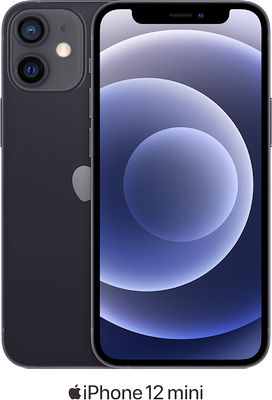 Black Apple iPhone 12 Mini 5G 128GB - Unlimited Data, £90.00 Upfront