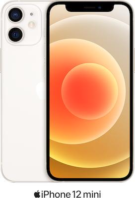 White Apple iPhone 12 Mini 5G 128GB - Unlimited Data, £90.00 Upfront